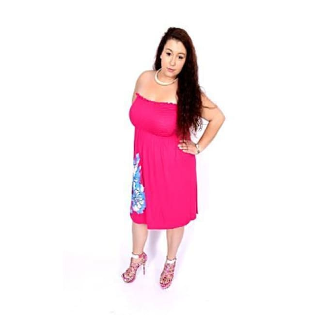 Hibiscus Tube Dress - 1X / Fuchsia - Dresses