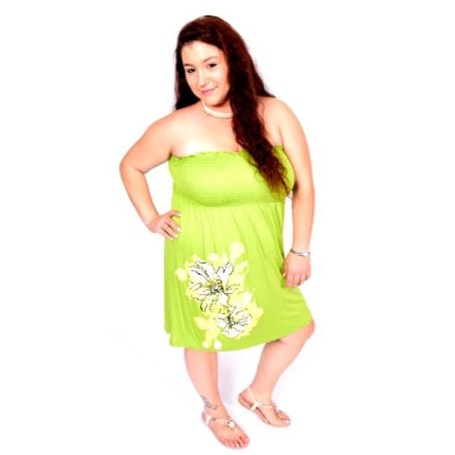 Hibiscus Tube Dress - 1X / LIME - Dresses