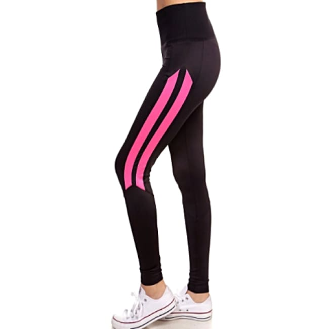 Ladies High Waist Sports Leggings - S / Black/Pink - Leggings