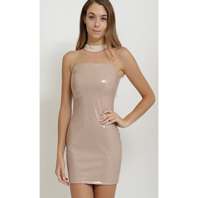 Ladies Latex Mini Dress - S / Nude - Dresses