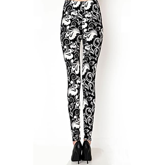 Ladies Lotus Print High Waist Leggings - Leggings