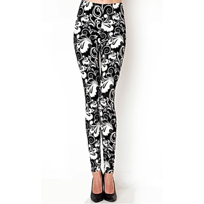 Ladies Lotus Print High Waist Leggings - black/white / one size - Leggings