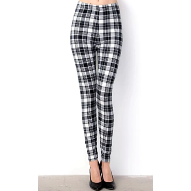 Women's Plaid Print Brushed Full Leggings