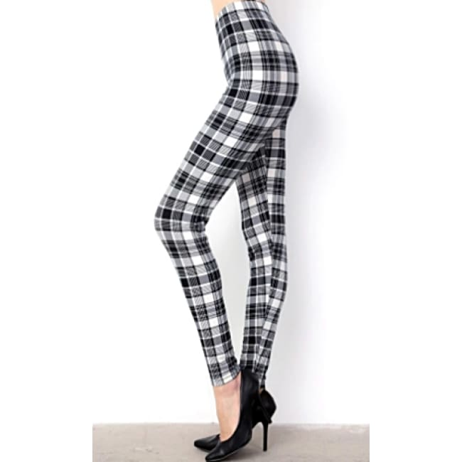 Ladies Plaid Print Brushed Full Leggings - Leggings