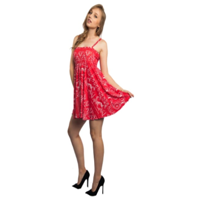 Women's Red Pleated Skater Dress