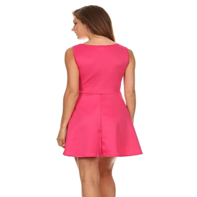 Ladies Relaxed Fuchsia Sleeveless Dress - Dresses