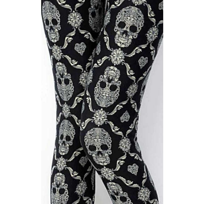 Ladies Skull Print Brushed Full Leggings - Leggings