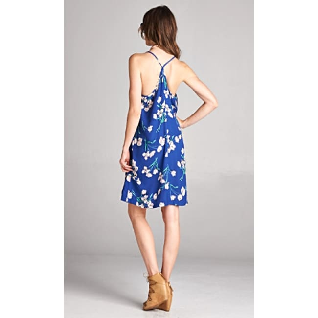 Ladies V Neck Floral Print Spaghetti Strap Dress - Dresses