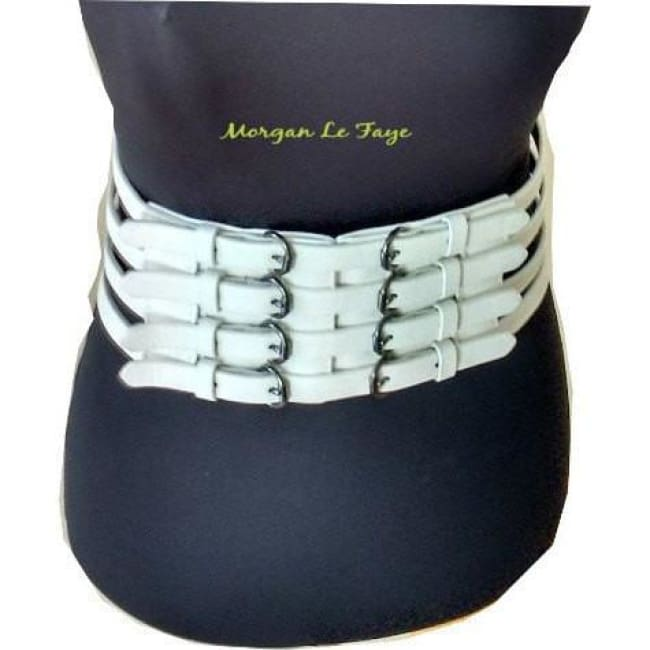 Women's Leatherette Buckles Accent Elastic Belt