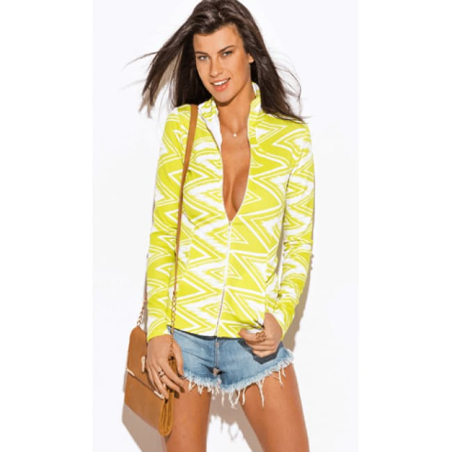 Lime Green Chevron Print Long  Sleeve Jacket
