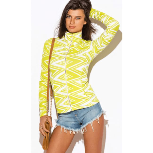 Lime Green Chevron Print Long Sleeve Jacket - S / Lime - womens Jackets