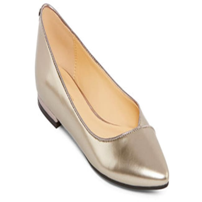Liz Claiborne® Aba Pointed-Toe Ballet Flats Pewter - 8.5 / Gold - Shoes