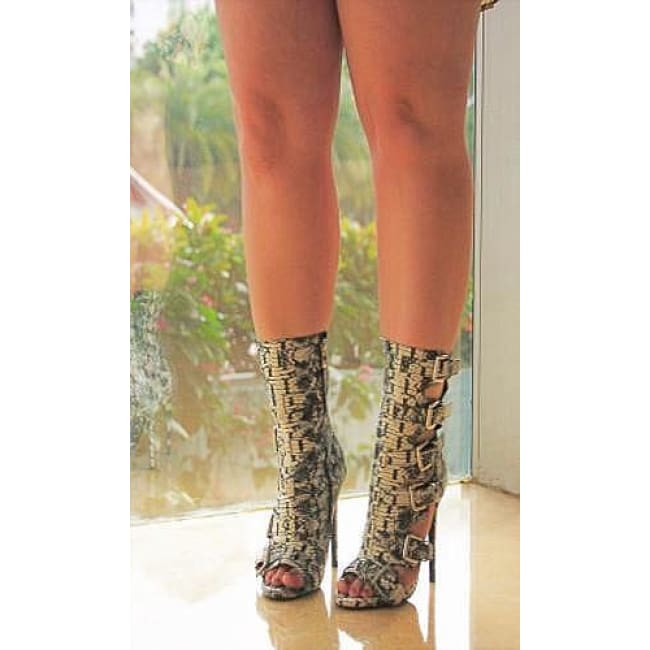 Lola Snake Side Strap Stiletto Booties - Heels