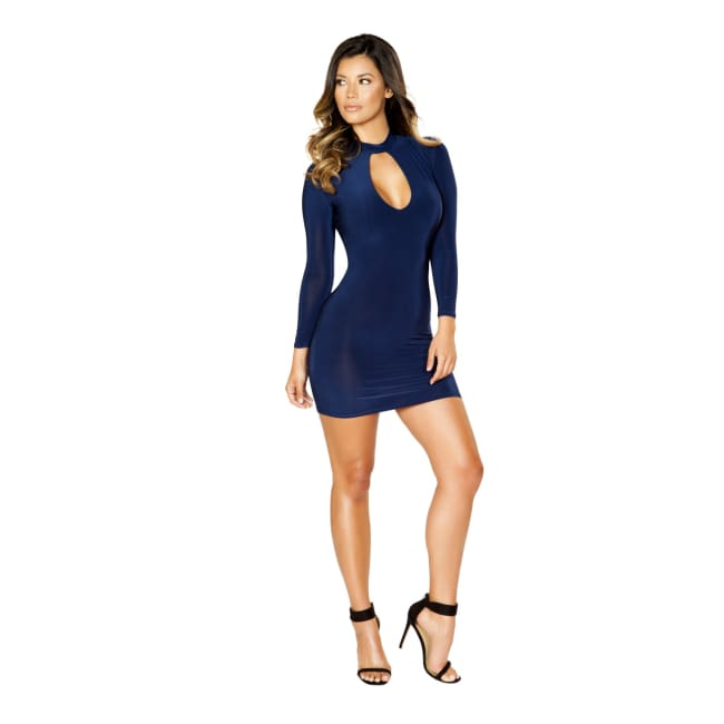 Long Sleeve Dress with Cutout Detail - Small / Navy Blue - Mini Dresses