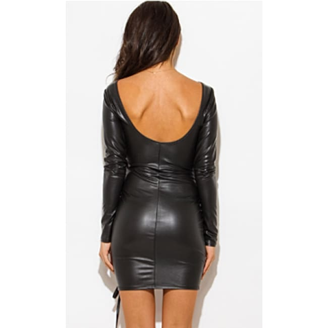 Long Sleeve Leatherette Lace up Dress - Dresses