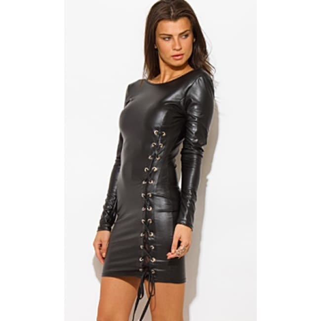 Women's Long Sleeve Leatherette Lace up Dress