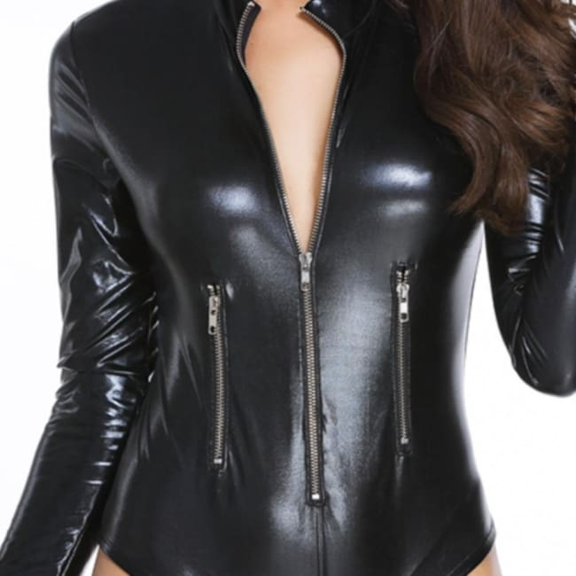 Long Sleeve Zipper Wet Look Body suit in Black - Body Suit