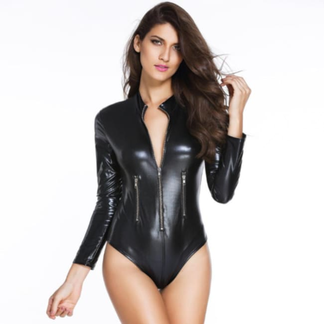 Long Sleeve Zipper Wet Look Body suit in Black