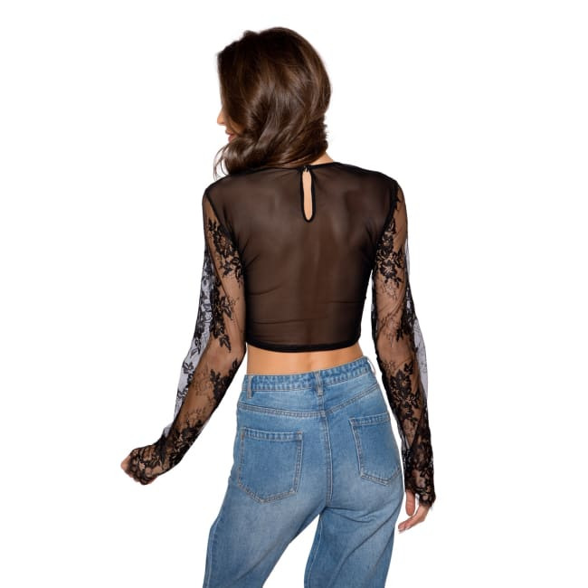 Long Sleeved Eyelash Lace Crop Top - Tops