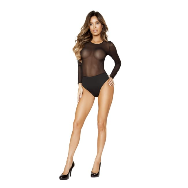 Long Sleeved Sheer Body Suit - Lingerie Blowout sale
