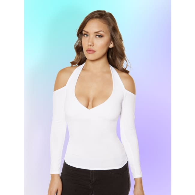 Long-Sleeved Top with Cutout Shoulders - Small / White - Tops