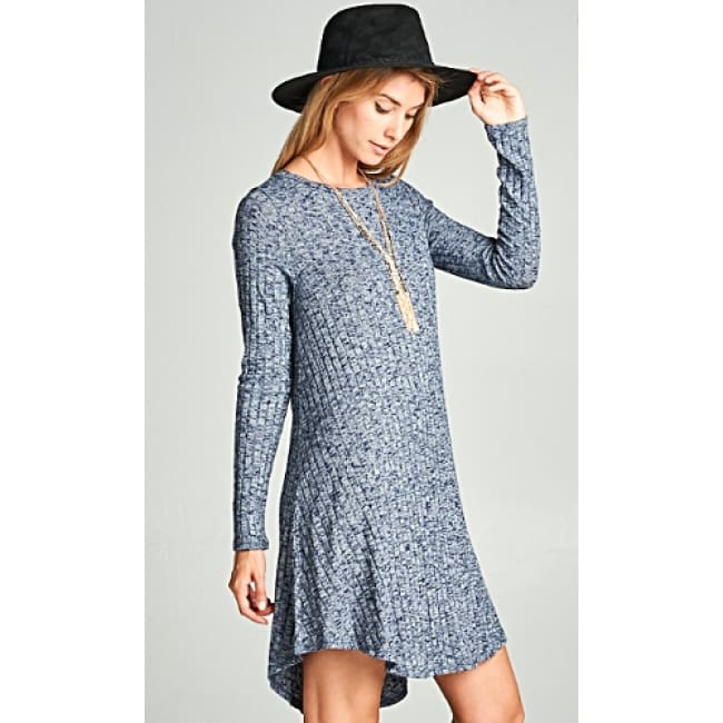 Loose Fit Knit Dress - S / Navy - Dresses