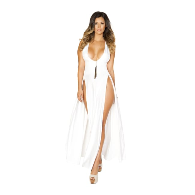 Maxi Length Dress with Front Slits - Medium / White - Mini Dresses