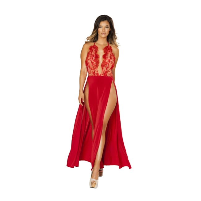 Maxi Length High Slit Dress with Eyelash Lace Detail - Small / Red - Dresses