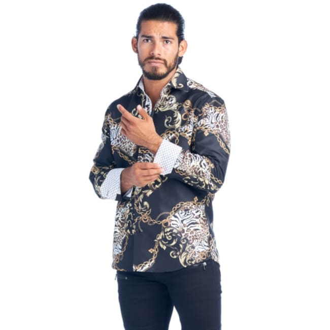 Mens Black Fancy Elegant Fashion Shirt - S / Black - Mens Tops