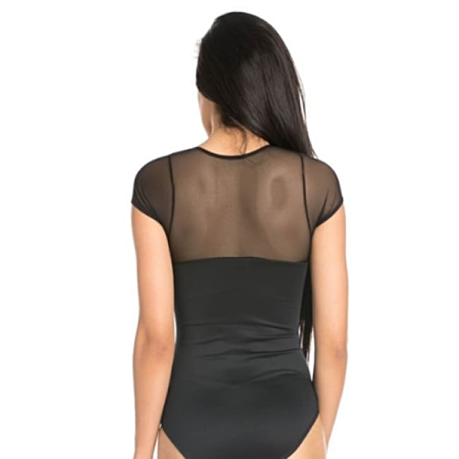 Mesh Short Sleeve Sheer Body Suit - Body Suit