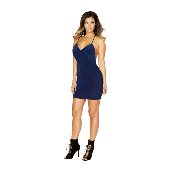 Mini Dress with Attached Overlap Panel - Small / Navy Blue - Mini Dresses