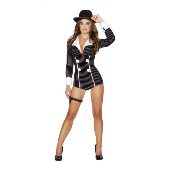 Mischievous Mobster Babe Costume - Black/White / M/L - Costumes