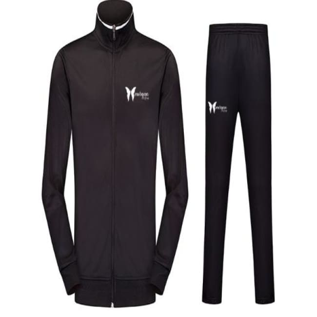 Morgan Le Faye Stripe Design Jacket And Pants Set - S / Black - Jump Suit