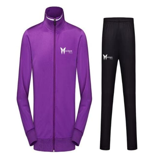 Morgan Le Faye Stripe Design Jacket And Pants Set - S / Purple - Jump Suit