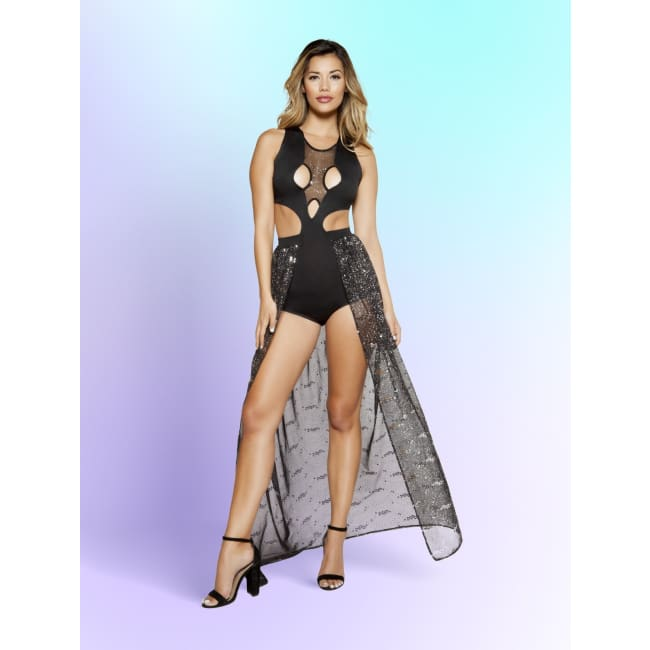 Multiple Cutout Romper - Small / Black/Silver - gowns mini dresses rompers