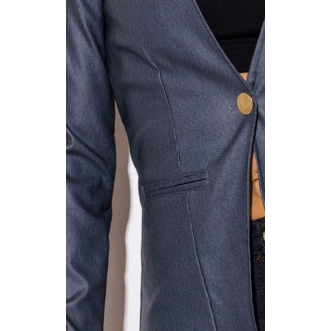 Navy Blue Long Sleeve Blazer - womens Jackets