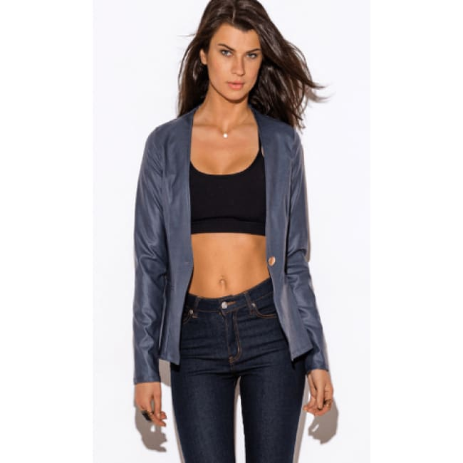 Navy Blue Long Sleeve Blazer - S / Blue - womens Jackets