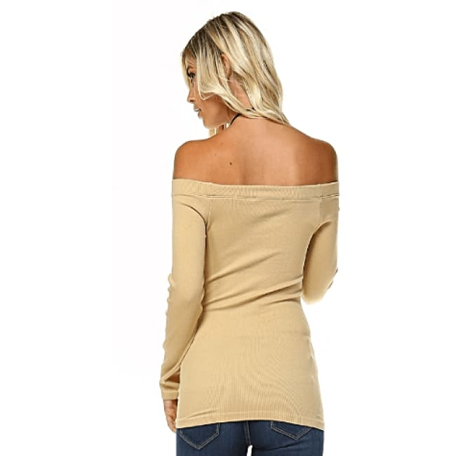 Off The Shoulder Long Sleeve Top - Tops
