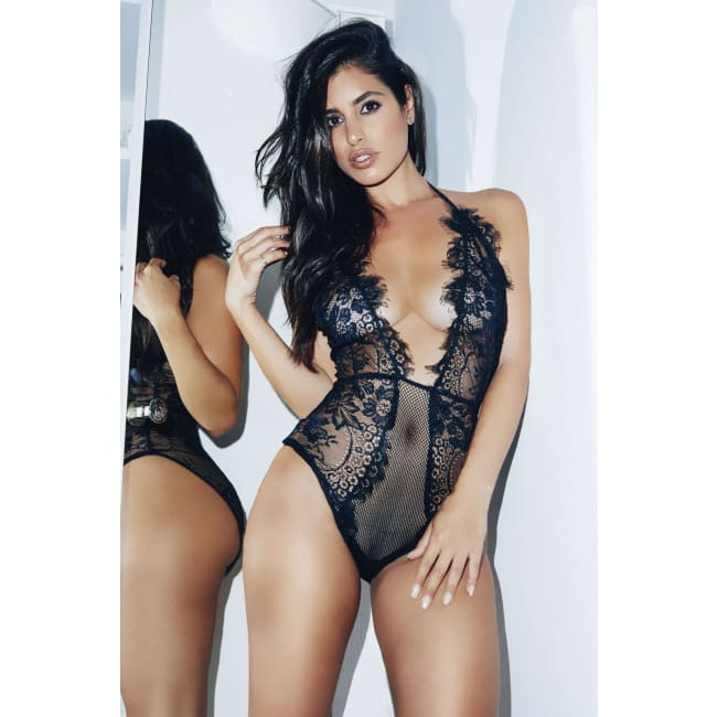 One Piece Plunging Teddy Lingerie - lingerie