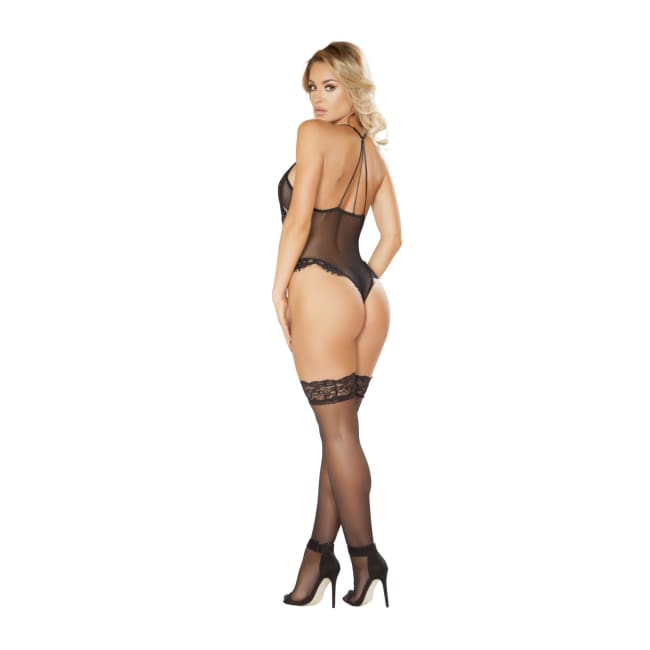 One Piece V-Shaped Eyelash Lace and Satin Teddy with Snap Bottom - lingerie