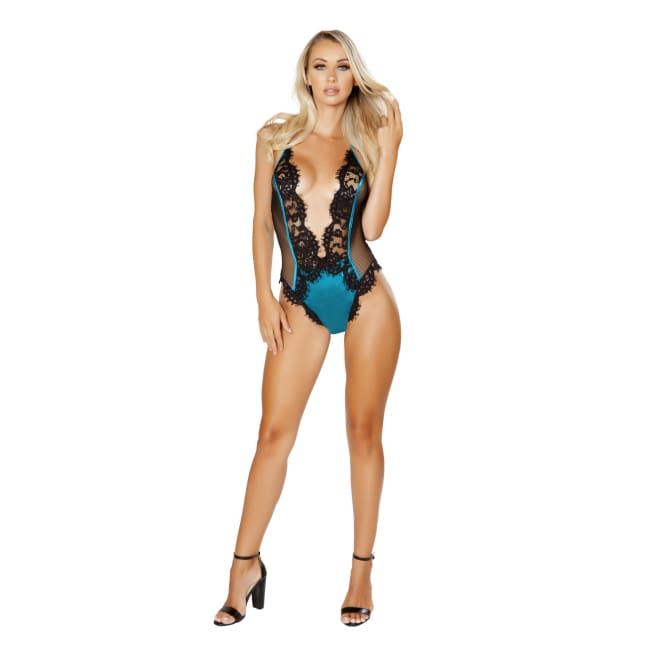 One Piece V-Shaped Eyelash Lace and Satin Teddy with Snap Bottom - S/M / Black/Blue - lingerie