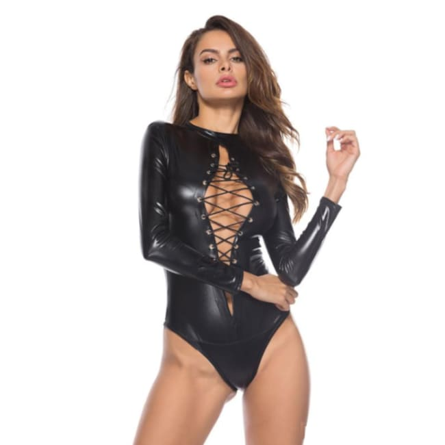 Open Cross Long Sleeve PVC Bodysuit in Black