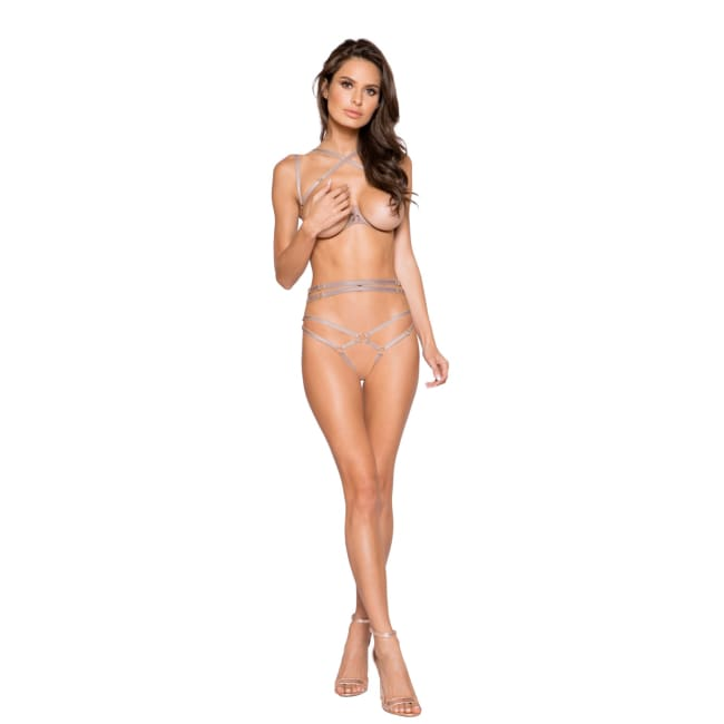 Open Underwire Cup & Crotchless Holster Short Set - S/M / Beige - lingerie
