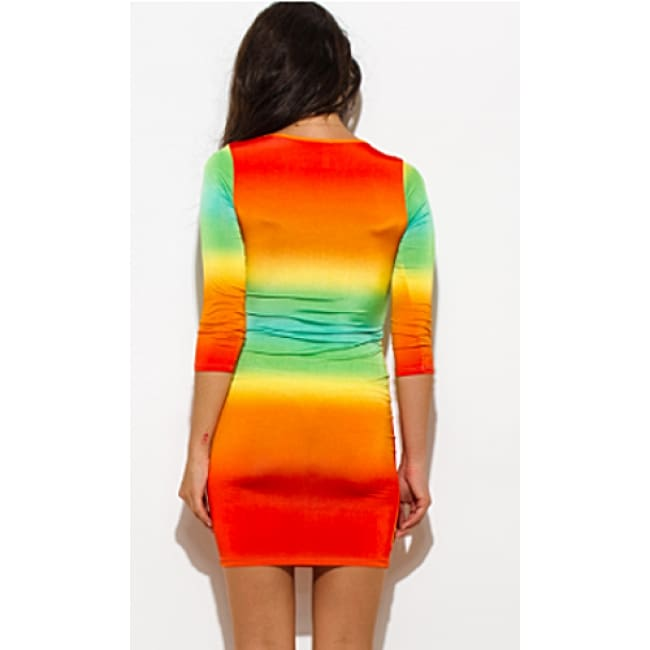 Orange Green Print Quarter Sleeve Dress - Dresses