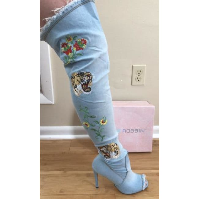 Over The Knee Embroidered Boots - Boots