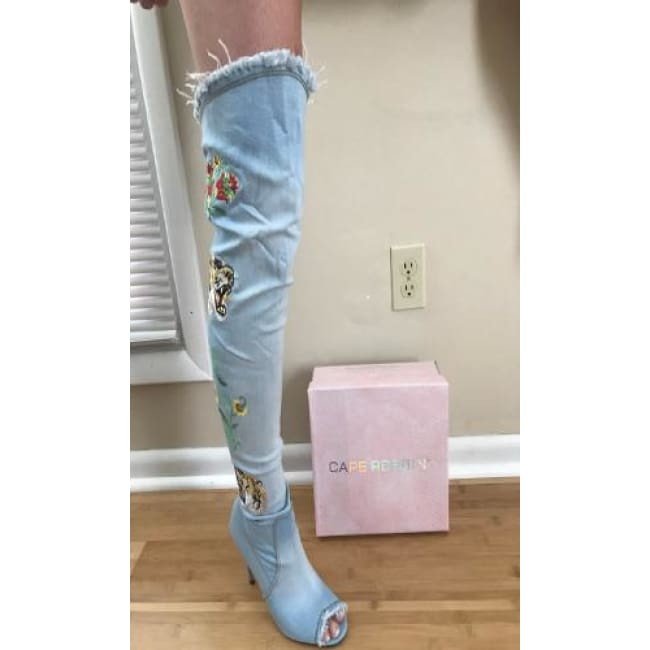 Denim Over The Knee Embroidered Boots