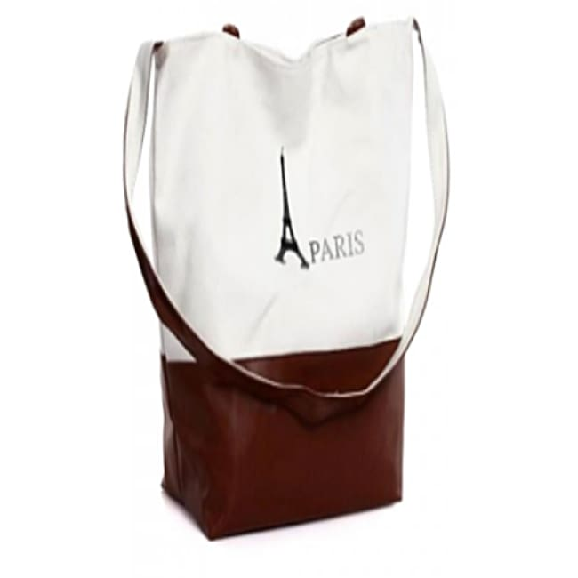 Paris Eiffel Tower Pattern Canvas Handbag - Bags