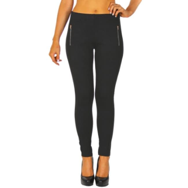 Pattern Textured Skinny Leggings with zipper - S / Black - Leggings