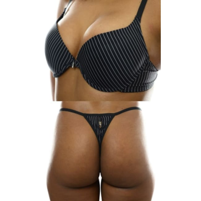 Pinstripe Bra And Matching Thong Set - Bra