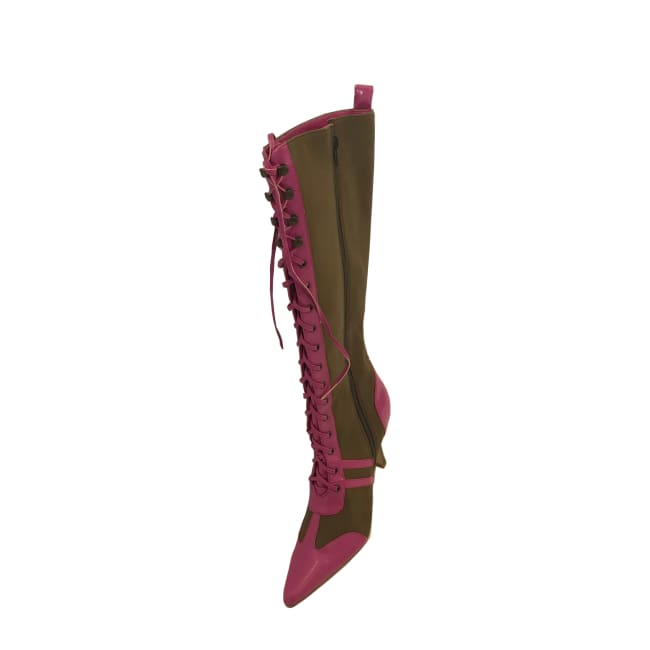 Pointed Toe Stiletto Heel Sexy Boot in Fuchsia - Boots